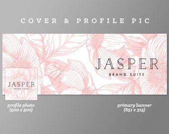 Timeline Cover + Profile Picture 'Jasper' Cover, Profile Picture, Branding, Web Banner, Blog Header | pink, black, line art, floral