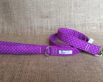 Purple and Turquoise Polka Dot Padded Handle Dog Lead