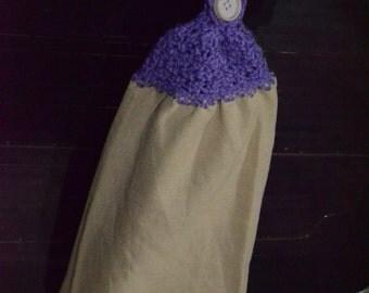 Lavender Burlap Crochet Towel