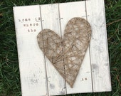 Rustic Valentines Gift, Rustic Home Decor, Heart artwork, heart string art//farmhouse decor