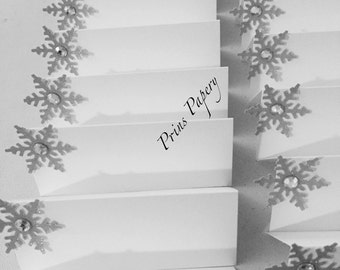 Wedding Silver Snowflake Holiday Christmas Place Cards Name Cards 10