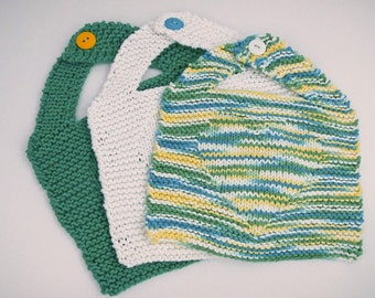 Knit Cotton Baby Bibs - Large Knit Baby Bibs - Baby Girl Bib Set - Baby Boy Bib Set - Knit Baby Shower Gift - Baby Bib With Button