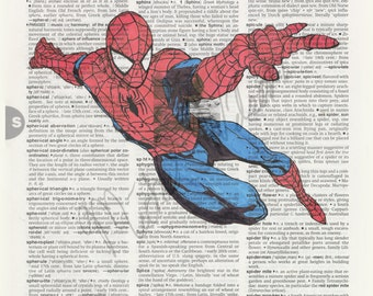 Marvel Comics Spider-man on dictionary page print