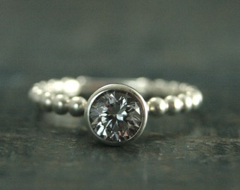Sterling Silver Bubble Bezel Engagement Ring--Beaded Engagement Ring--White Topaz--White Sapphire--Moissanite--Cubic Zirconia--Affordable