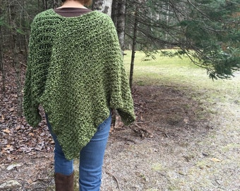 Hand Knit Poncho THE WINDHAM cape shawl in Olive Green