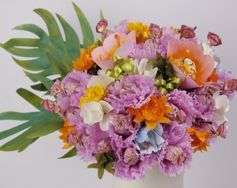 Candy - paper flower bouquet - MADE to ORDER - choose your favorite colors - OOAK