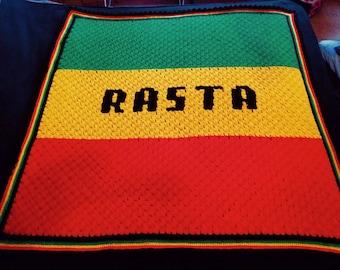 Rastafarian 'Rasta' crochet throw/lapblanket/small afghan - fleece lined