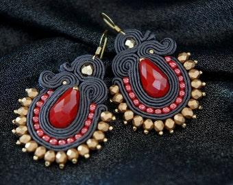 braid earrings soutache gray red gold