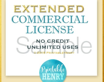 One (1) Extended Commercial Use License / PrintableHenry - Unlimited unit sales