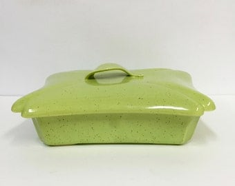 VIntage Covered Dish Green Decorative Dish/Vintage Kitchen /Vintage Serving/ Vintage Decor