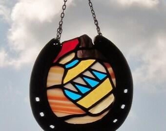 Stained Glass Pottery Suncatcher, Southwest Pottery in Desert Sun Catcher, Recycled Horseshoe Frame