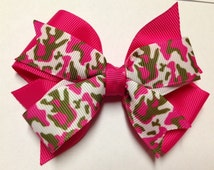 """4"""" hot pink camo white camouflage hair bow clip baby toddler teen birthday party favor deer hunting princess mossy oak stocking stuffer"""