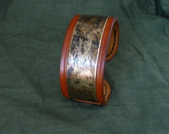 SCKLeather Handmade Veg Tan Leather Cuff Bracelet with Patinated Brass