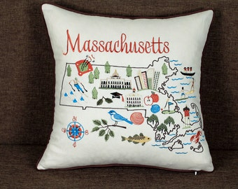 Massachusetts State Embroidered Pillow cover Pillow Cases Throw Pillows Outdoor pillow Decorative Pillow Gift Wedding Gift Anniversary