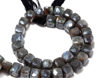 "Natural Labradorite Bead, Mystic Coated Labradorite, Faceted Box Beads, 7.5mm Beads, 5"" Half Strand, SKU-AA59"