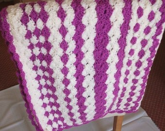 Sale - HALF PRICE! Crocheted Shell Stitch Baby Blanket in Deep Violet and Cream.  UK Seller!
