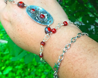 Slave Bracelet, Sterlin Silver and Red agate Pendant Chain Breclete, Sterling Silver and Red Czech Beads Accents Bracelet, Bohemian  Jewelry