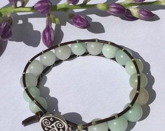 Laether bracelet- Single wrap bracelet- Jade bracelt-Bohemian bracelet