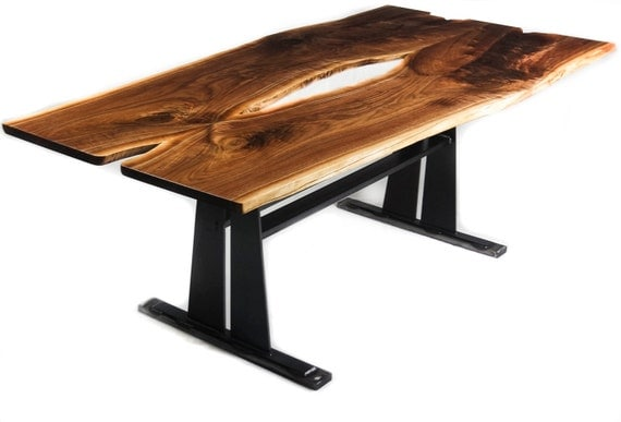 Bookmatched walnut live edge wood slab dining table with for Live edge slab dining room table