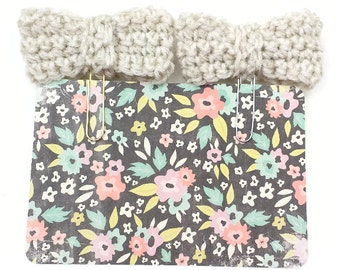 Khaki-Colored Crochet Bow  Planner Paperclip/Bookmark/Clip      [020]