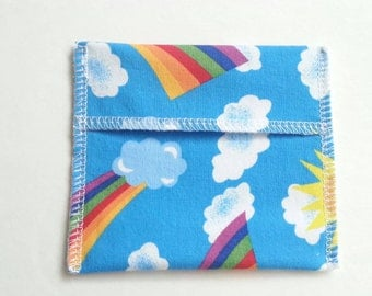 Pad Wrapper Pouch for Cloth Pads Mini Wet Bag - Happy Rainbow