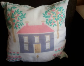 Decorative pillow with home picture, cotton pillow case,Farmhouse style,Coutry style