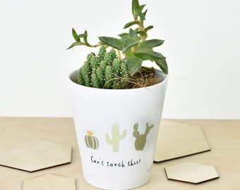 Can't Touch This' Cactus Plant Pot Cactus Print - Cactus Pot - Gardener Gift - Ceramic Planter - Herb Garden - Spring Home Decor[GDN-005]