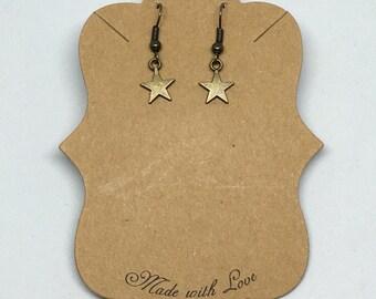 Star earrings, bronze earrings, minimalist earrings, fairytale earrings.