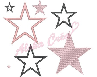 Machine Embroidery Design Stars Pack (17 size) - Instant Digital Download