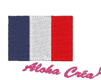 Ground embroidery machine french flag - instant download