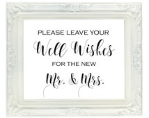 Well Wishes for the New Mr. & Mrs. Sign, Wedding guest book sign, Wedding Advice sign, printable wedding sign, instant download, 8x10