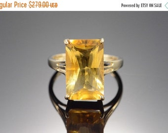 1 Day Sale 14K Vintage 9.00 Ct Citrine Ring Size 7 Yellow Gold