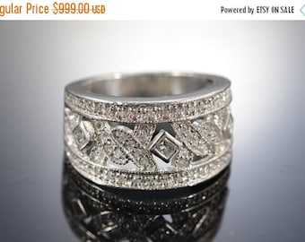 ON SALE Platinum 0.50 Ctw Diamond Pave Wide Band Ring Size 4.5