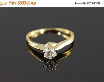 ON SALE 14K 0.28 Ct Solitaire Diamond Engagement Ring Yellow Gold
