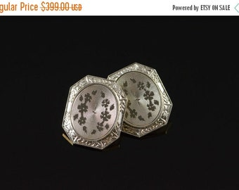 ON SALE 14K Antique Floral Motif Cuff Link Yellow/White Gold