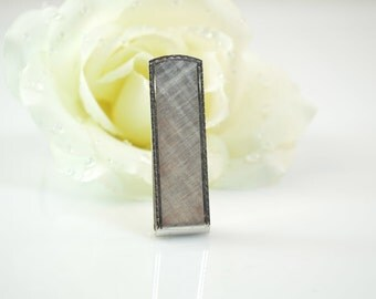 Sterling Scallop Trimmed Etched Texture Tie Bar - 12.3g