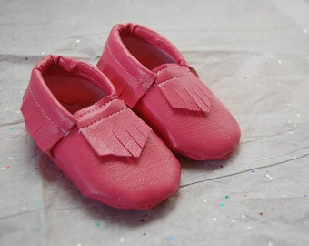 Baby Moccasins - Fuchsia Pink Faux Leather Vinyl