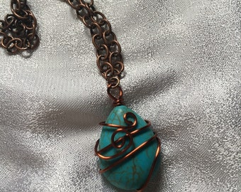 Copper turquoise pendant wire wrapped