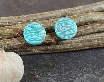 Fossil in Turquoise Faux Bois - stud earrings