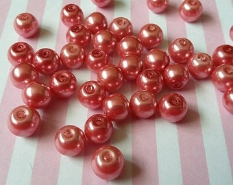 8mm rose pink  pearl beads, Glass, Round, Pack of 100 - B2i