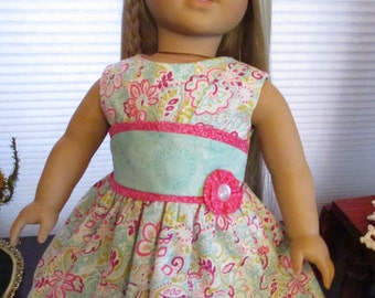 "Summer 18"" Doll Dress to fit your American Girl Doll in Aqua Blue & Pink"