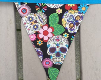 Sugar Skull bunting, gothic bunting, kitsch bunting garland, caravan, rockabilly, day of the dead, teen gift, gift for her, tattoo style,