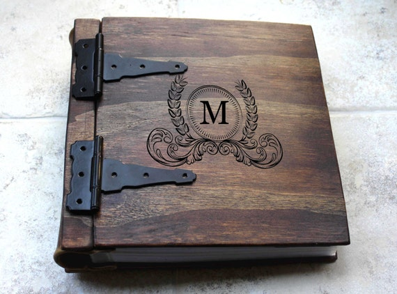 Wood Cover Cookbook : Monogram photo album wood leather artist portfolio rustic