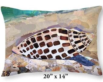 Throw Pillow Cover, Pillow, Junonia, Seashell, Shells, Coastal Decor, Sanibel, Housewarming Gift, Beach, Ocean, Florida, Seaside, Sand