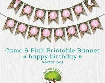 Printable Happy Birthday Pink Camo Banner