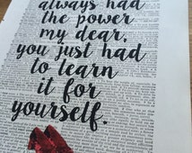 Dorothy Wizard of Oz quote dictionary art print home decor present gift