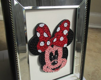 framed paper quilling minnie mouse