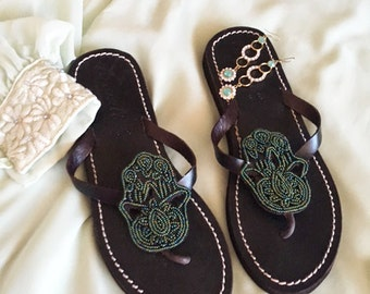 Hamsa handmade leather shoes flip flops