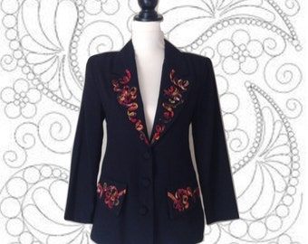 1980's Ladies Blazer-Monkey Wear-Black Jacket-Colorful Floral Piping Design-Lapels-Fitted-Pocket Flaps-Fully Lined-Clothing-Soutache