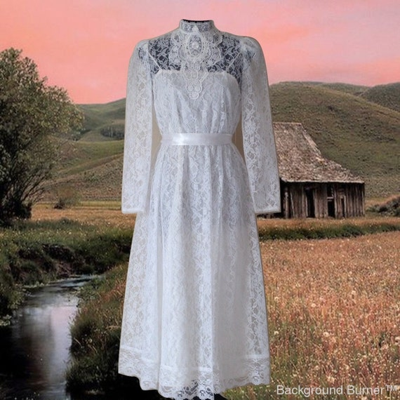 Vintage Victorian Wedding Dresses: Vintage White Lace Dress Wedding Dress Victorian High Collar
